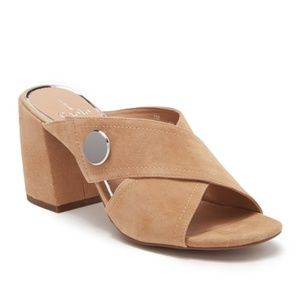 Linea Paolo – Izzy Heeled Suede Mule Tan / 10M